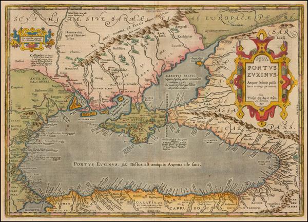 94-Ukraine, Romania, Turkey and Turkey & Asia Minor Map By Abraham Ortelius