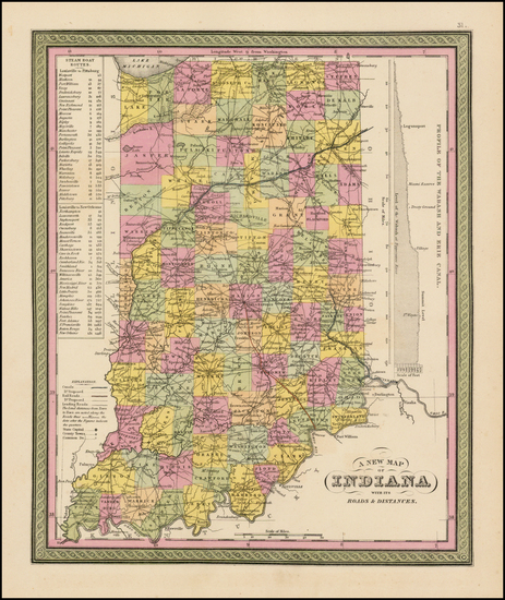 89-Indiana Map By Samuel Augustus Mitchell