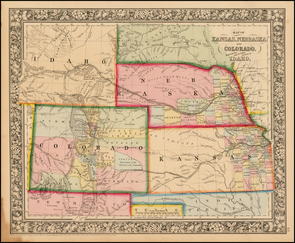 55-Plains, Nebraska, Southwest, Rocky Mountains, Colorado and Idaho Map By Samuel Augustus Mitchel