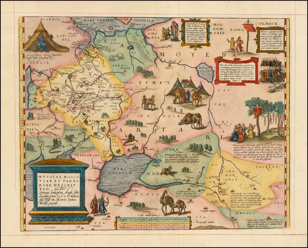 36-Russia, Ukraine, India, Central Asia & Caucasus and Russia in Asia Map By Abraham Ortelius