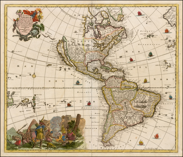 40-Western Hemisphere, South America and America Map By Jacob Sandrart