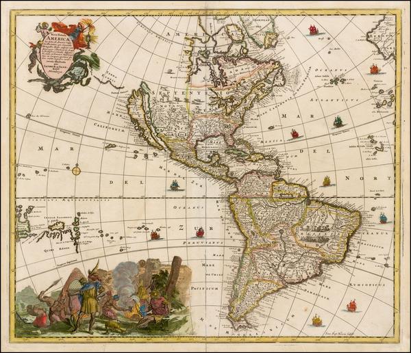 74-Western Hemisphere, South America and America Map By Jacob Sandrart