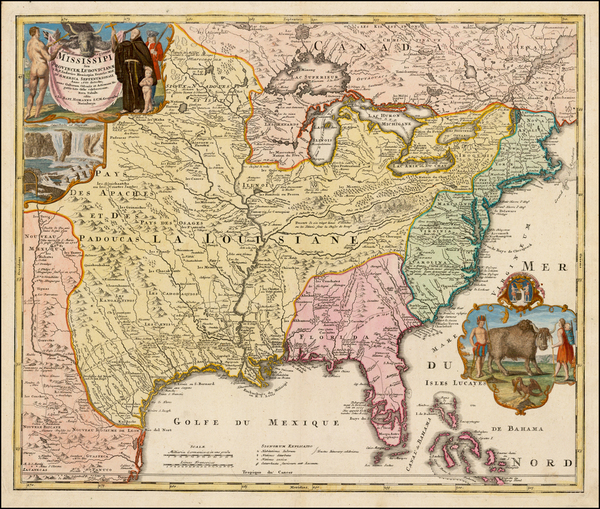 61-United States, South, Southeast, Texas, Midwest, Plains and Southwest Map By Johann Baptist Hom