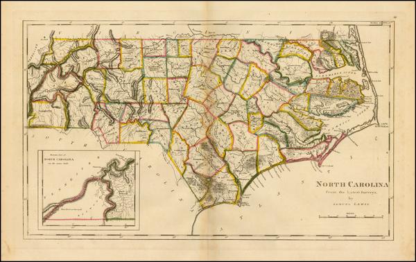 14-Southeast and North Carolina Map By Mathew Carey