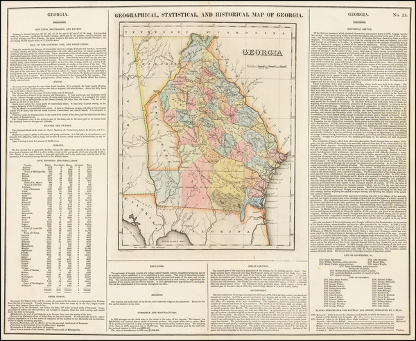 92-Southeast and Georgia Map By Henry Charles Carey  &  Isaac Lea