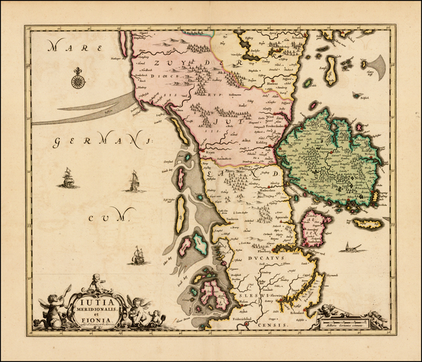 Germany and Denmark Map By Johannes Covens  &  Pieter Mortier