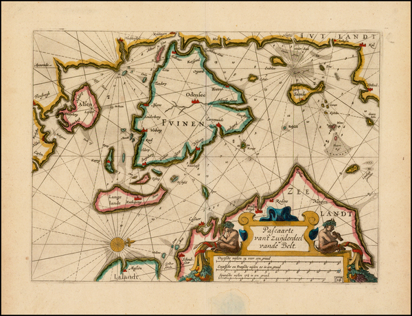 58-Denmark Map By Willem Janszoon Blaeu