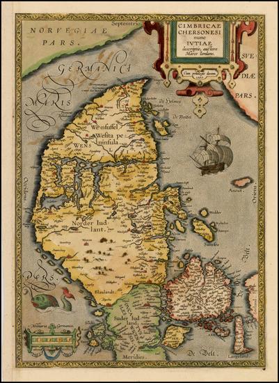 17-Denmark Map By Abraham Ortelius