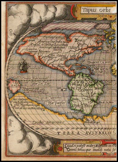 57-Western Hemisphere, South America and America Map By Abraham Ortelius / Philippe Galle