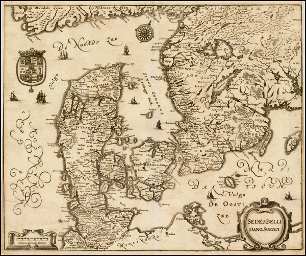 44-Sweden and Denmark Map By Matthaus Merian