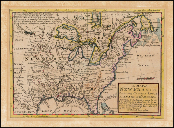 87-United States, Midwest and Plains Map By Herman Moll