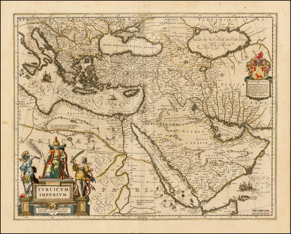 Turkey, Middle East and Turkey & Asia Minor Map By Willem Janszoon Blaeu