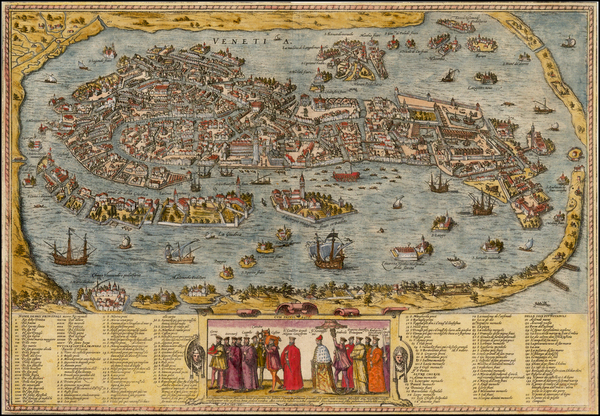 18-Italy Map By Georg Braun  &  Frans Hogenberg