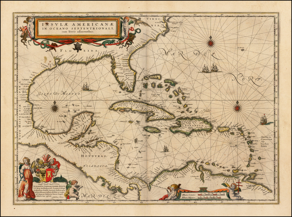47-South, Southeast, Caribbean and Central America Map By Willem Janszoon Blaeu
