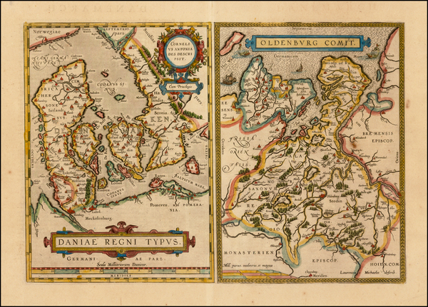 27-Germany and Denmark Map By Abraham Ortelius