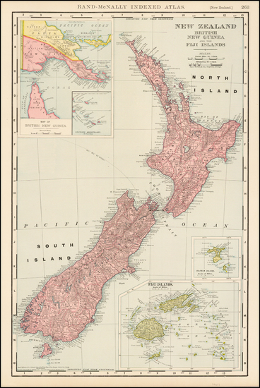 98-New Zealand and Other Pacific Islands Map By Rand McNally & Company