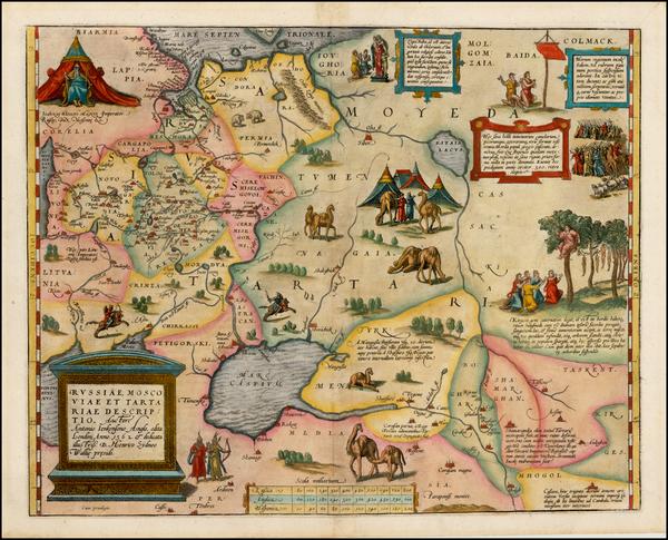 54-Russia, Ukraine, India, Central Asia & Caucasus and Russia in Asia Map By Abraham Ortelius