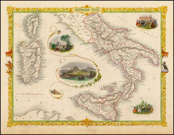 33-Italy and Balearic Islands Map By John Tallis
