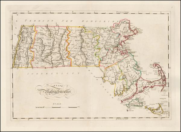 41-New England and Massachusetts Map By Mathew Carey