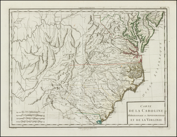 90-South, Southeast, North Carolina and South Carolina Map By Pierre Antoine Tardieu
