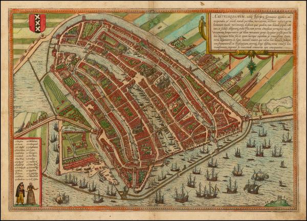 2-Netherlands Map By Georg Braun  &  Frans Hogenberg