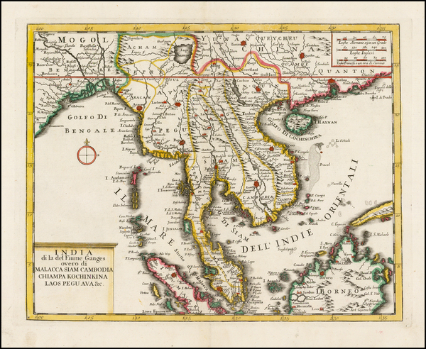 India, Southeast Asia, Thailand and Other Islands Map By Giambattista Albrizzi