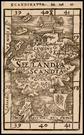 94-Denmark Map By Johann Honter