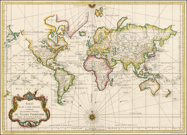21-World, World, Australia and New Zealand Map By Jacques Nicolas Bellin