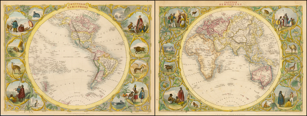100-World, Eastern Hemisphere, Western Hemisphere, South America and America Map By John Tallis