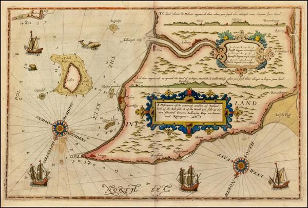 75-Denmark Map By Lucas Janszoon Waghenaer