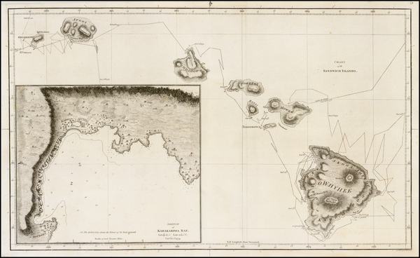 71-Hawaii and Hawaii Map By James Cook