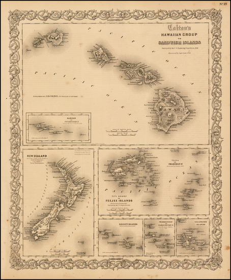 70-Hawaii, New Zealand, Hawaii and Other Pacific Islands Map By Joseph Hutchins Colton