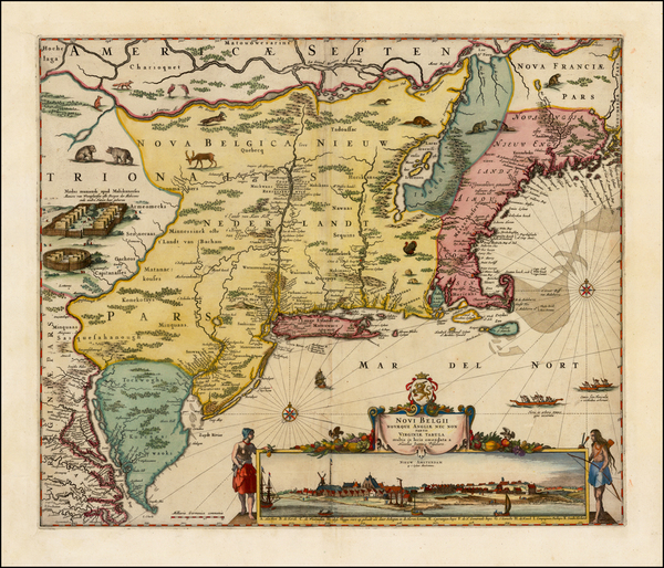 42-New England, New York City, New York State and Mid-Atlantic Map By Nicolaes Visscher I