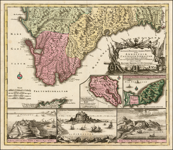 61-Spain and Gibraltar Map By Matthaus Seutter