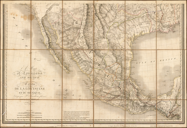 57-Texas, Southwest, Rocky Mountains, Mexico, Baja California and California Map By Pierre Antoine