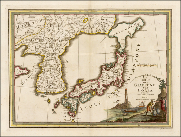71-Japan and Korea Map By Giovanni Maria Cassini