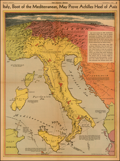 37-Switzerland, Austria, Balkans and Italy Map By Charles H. Owens / Los Angeles Times