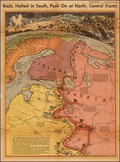 1-Polar Maps, Russia, Baltic Countries and Scandinavia Map By Charles H. Owens / Los Angeles Time