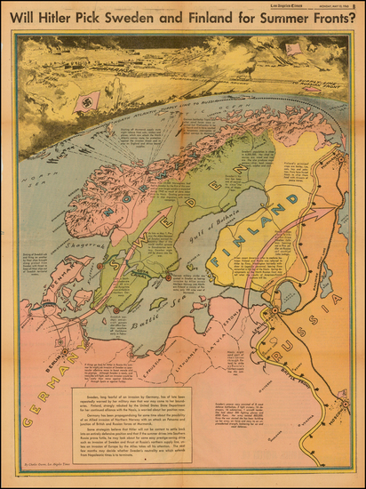 8-Polar Maps, Germany, Russia, Baltic Countries and Scandinavia Map By Charles H. Owens / Los Ang