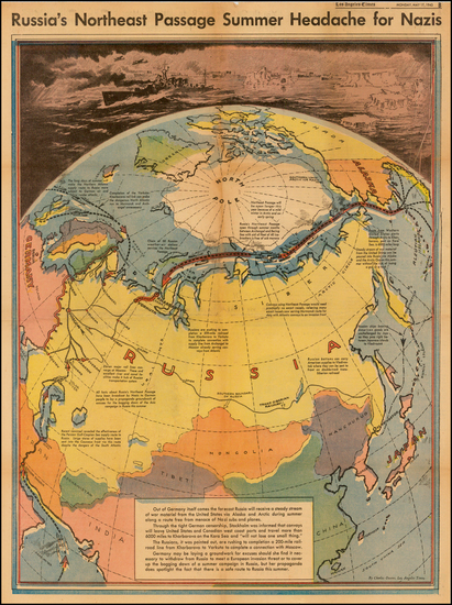 48-Polar Maps, Alaska, Canada, Russia, China and Russia in Asia Map By Charles H. Owens / Los Ange