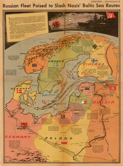 19-Polar Maps, Germany, Poland, Russia, Baltic Countries and Scandinavia Map By Charles H. Owens /