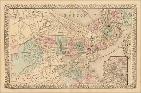 68-New England and Boston Map By Samuel Augustus Mitchell Jr.