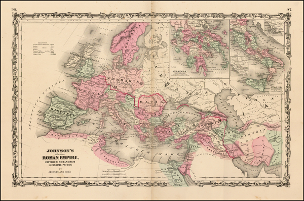 68-Europe, Italy and Mediterranean Map By Alvin Jewett Johnson