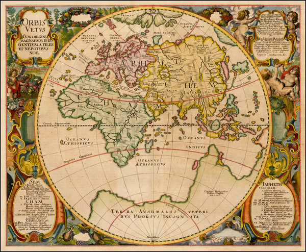 88-World and Eastern Hemisphere Map By Johannes Mejer