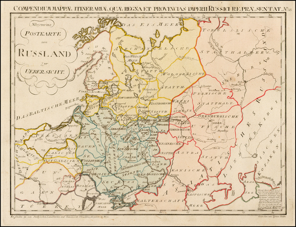 46-Poland, Russia, Ukraine and Baltic Countries Map By Franz Johann Joseph von Reilly