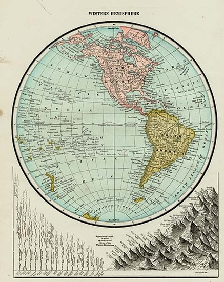 49-World, Western Hemisphere, South America and America Map By George F. Cram