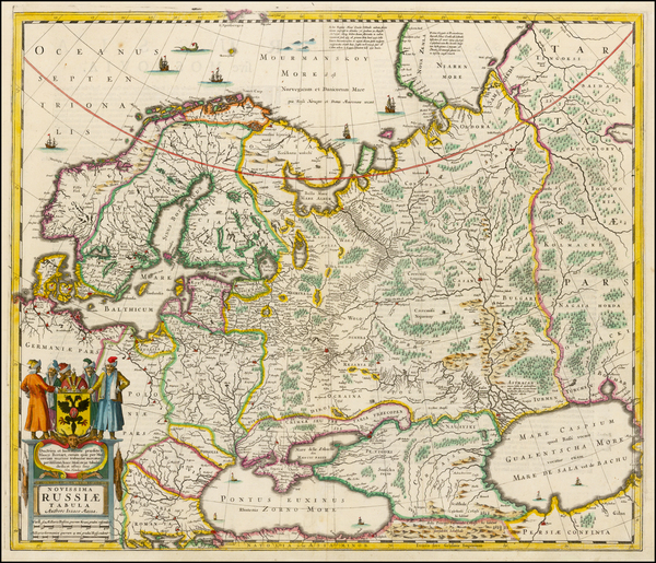6-Russia, Ukraine, Scandinavia and Russia in Asia Map By Henricus Hondius