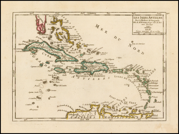 70-Caribbean Map By Gilles Robert de Vaugondy
