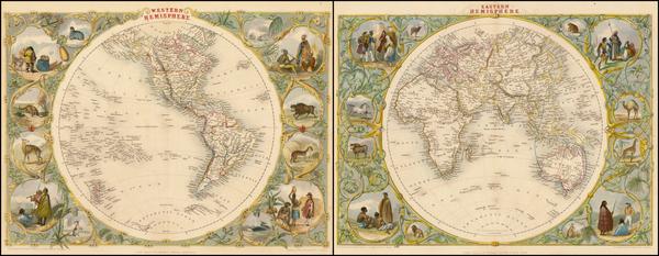 31-World, Eastern Hemisphere, Western Hemisphere, South America and America Map By John Tallis