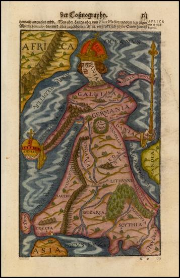 36-Europe, Europe, Curiosities and Comic & Anthropomorphic Map By Sebastian Munster